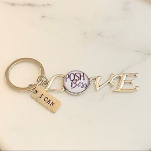 Accessories - Silver Plated Posh Boss Love KeyChain.